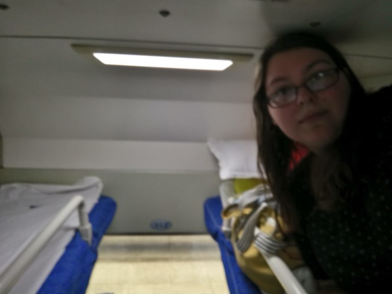 Top bunk of the Hard Sleeper train