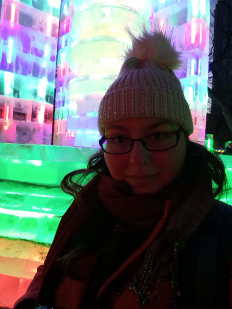 A selfie in front of an ice sculpture in Zhaolin Park