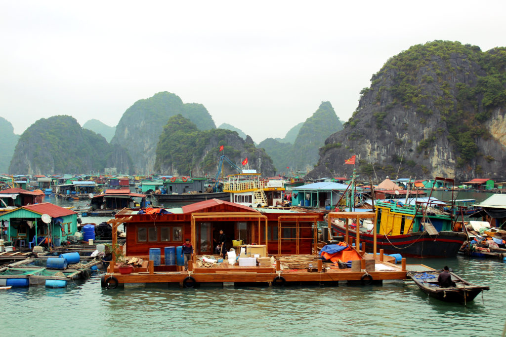 A floating fishing village on the Ha Long Bay tour