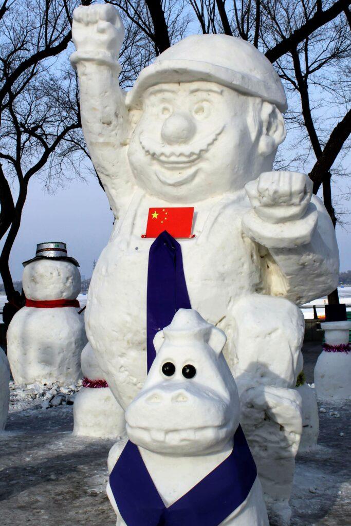 A mario snowman