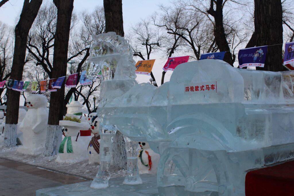 An ice sculpture of a horse