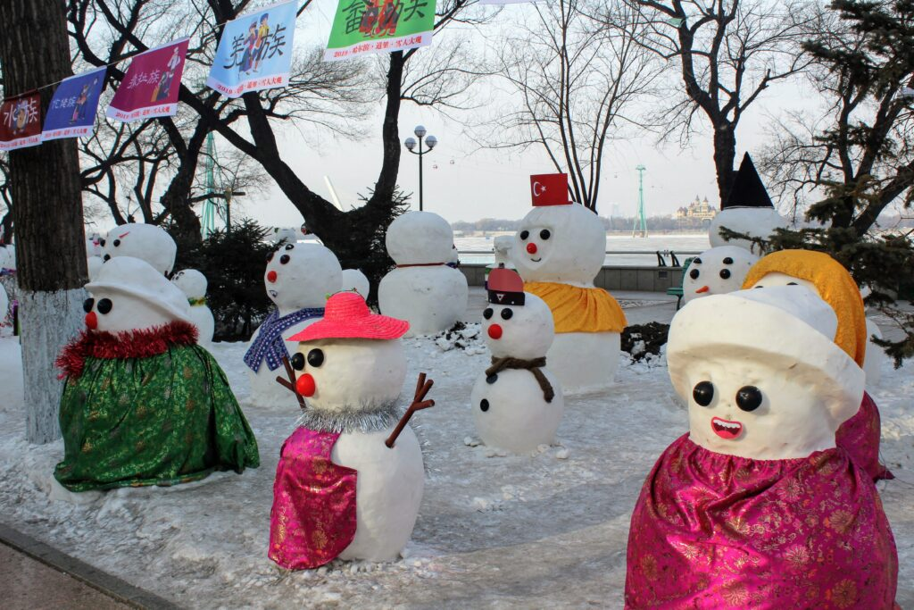 Several of the snowmen in Harbin