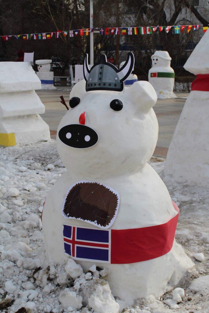 An Iceland snowman
