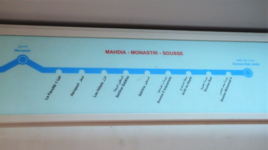 Photo of route map for the train from Sousse showing the stops when planning a day trip to Monastir